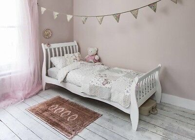 Single White Sleigh Wooden Bed Girls Princess Vintage New Bed Teenager Adult