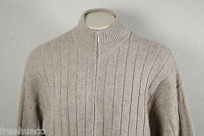 ORVIS Full Zip Cardigan Sweater Leather Patch Elbows -Natural Wool -Men's XL
