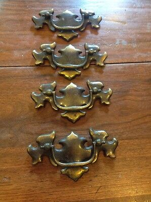 Set Of Four Colonial Revival Brass Finish Furniture Drawer Pulls Hardware