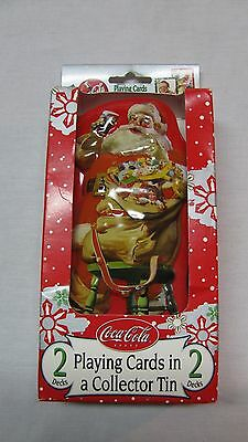 New Vintage 2 Decks of Coca Cola Playing Cards in Santa Claus Collector Tin NOS