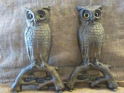 Vintage Set Cast Iron Owl Fireplace Andirons w Glass Eyes Antique Fire Dogs 9703