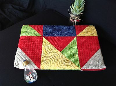 Handmade Quilt Table Topper Brights Block Throw Lap Quilt