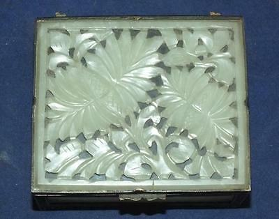 Antique Chinese Celadon Jade Box Ornate Carved Flowers Chased Brass Frame