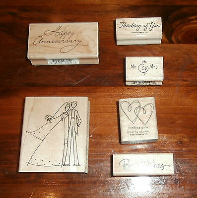 6 Assorted Wedding Rubber Stamps Lot Stampin Up Stampendous