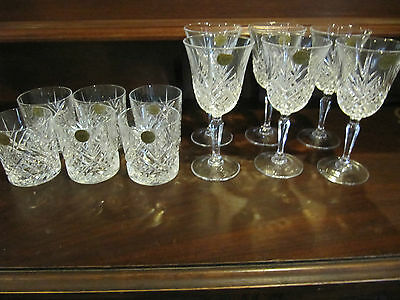 Never used 2 sets x 6 CRISTAL D'ARQUE French lead crystal wine & water glasses