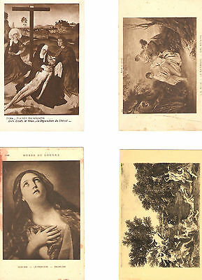 Bulk Lot Art-Nine Painting Postcards, Mostly French Museum Pieces-Most Religious