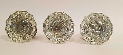 (3) Antique Vintage 12 Point Glass / Crystal and Brass Door Knob with Set Screws