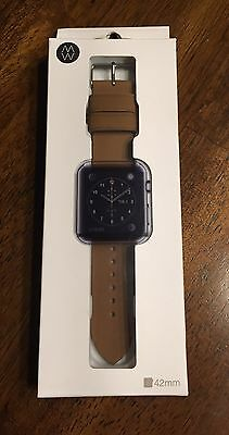 New Monowear Apple Watch band 42mm Brown Genuine Leather Matte Silver NIB