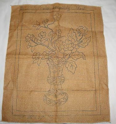 Vintage Hooked Rug Stamped Burlap 16 1/2X22 My Christmas Wish Tranquility Pearl