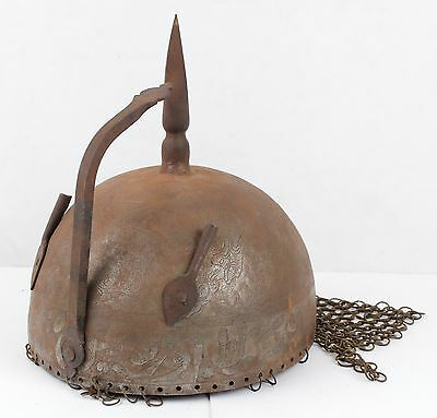 Antique ENGRAVED INDO PERSIAN Metal WAR HELMET w/CHAINMAIL! Chain Mail, Armor
