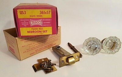 Antique Vintage 12 Point Clear Crystal Glass Brass Door Knob Kit - Pre 1950