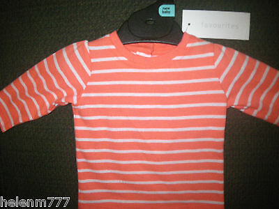 Newborn Girls Long Sleeve T shirt Top 0000 Orange White Soft Cotton Button Back
