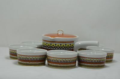 Retro Royal Sealy Japan Covered SoupDish with Service for 8 Bowls