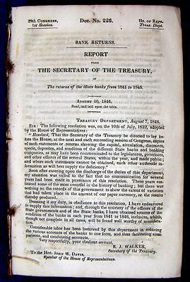 1846 TREASURY DEPARTMENT 1,261 Page Report on State Bank Returns 1841 to 1846