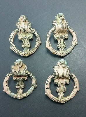 """4 Shabby Chic French Handles Ornate in Pink and Green 2"""" x 1 1/2"""" #Z13"""