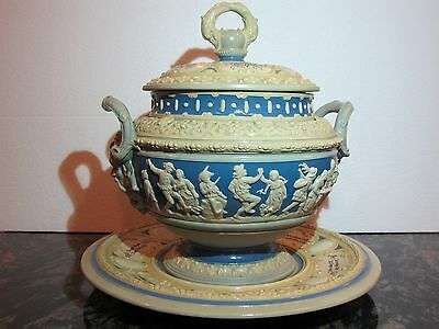 Reduced - Antique Large Mettlach Relief Lidded Punch Bowl with Underplate