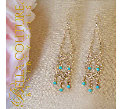 $499Bc® New Victorian Turquoise 14K Gold Chandelier Vtg Cut Dangle Drop Earrings