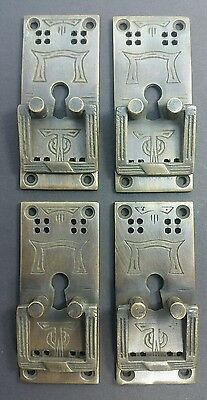 """4 Arts and Crafts Mission Handles Brass Square Ring pull w. Escutcheon 3"""" #H28"""
