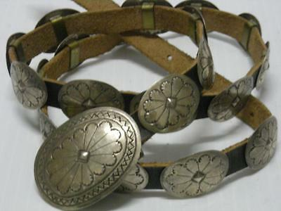 """EARLY VINTAGE NAVAJO INDIAN INDIAN SILVER 20+buckle CONCHO BELT - 38+"""" long - NR"""