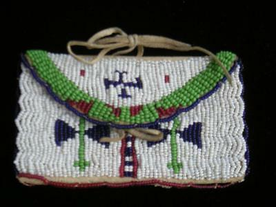 Nicely Beaded Antique Vintage Sioux Indian Lazy Stitch Pouch - Xlnt Cond - Nr !