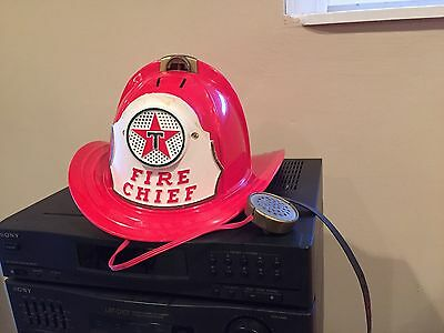 Vintage 1960s Texaco Fire Chief Fire Hat Helmet With Microphone