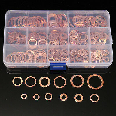 280pcs 12 Sizes Assorted Solid Copper Gasket Washers Seal Flat Ring Set with Box