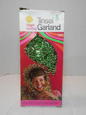 Vintage DoublGlo TINSEL GARLAND c.1968 25' Green & Gold Christmas Decoration