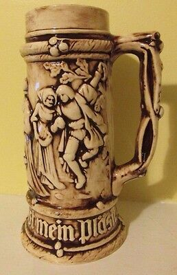 "vintage 9"" German Beer Stein Embossed"