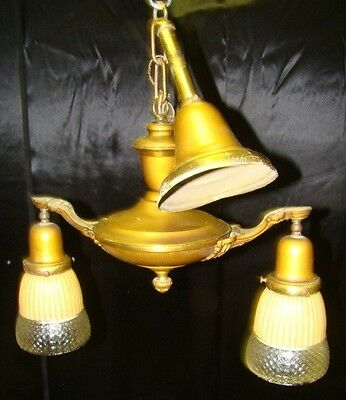 Victorian Pan Fixture Double Light Ceiling Light Fixture w Ribbed Peach Shades ~