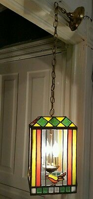 Atq Lovely ONE OF A KIND Slag Glass Birds Chandelier Mission or Arts & Crafts