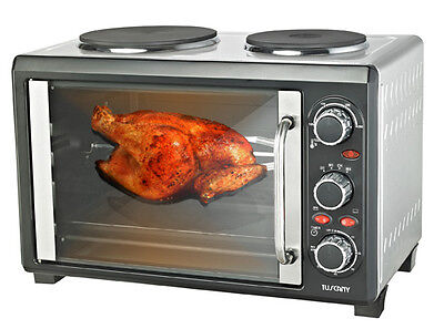 2200W 28Ltr Stainless Steel Rotisserie Oven Stove Pizza Maker Twin Hotplate Rrp