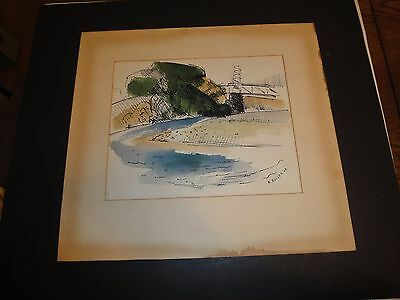 Vintage Original Watercolor Painting Signed 1949