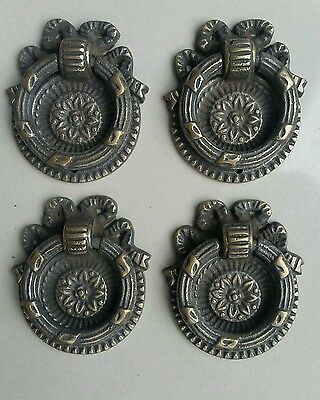 "4 ornate round ring pull handles with detailed ribbon backplate 1 5/8"" #H23"