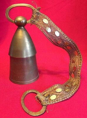 Vintage Brass Bell Made Sarna India COW BELL Weaved Sequence Strap Brass Rings