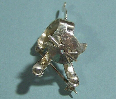 Silver Cat Brooch ,stamped Pin-.925