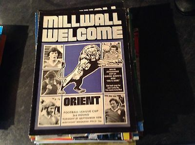 Millwall V Orient. 21/9/76.  League Cup Rd3