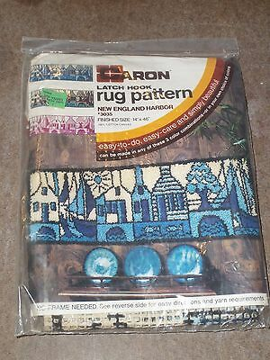Vintage Caron Latch Hook Rug Pattern New England Harbor # 3035    14  X  46