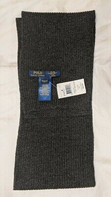 Polo Ralph Lauren boys/youth (and men's) scarf, Grey, 5 ft, 55% wool/45% nylon