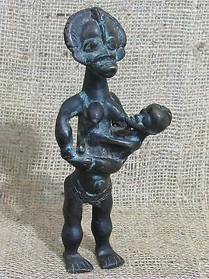 African Art Dan-Grebo Bronze Maternity Figure Antique Collectible