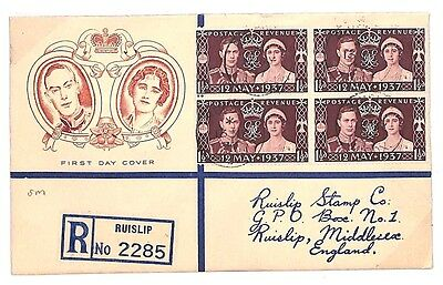 D153 1937 GB KGVI CORONATION First Day Cover *BLOCK OF FOUR* FDC Ruislip Middx