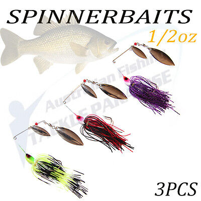 3x 1/2oz Spinnerbaits Spinner Bait Fishing Lures Buzz Fly Bass Cod Barra Spoon