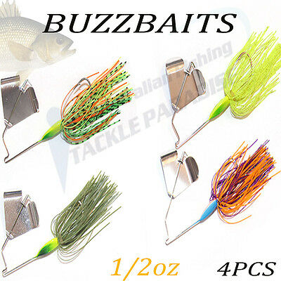 4x 1/2oz Buzzbait Buzz Baits Fishing Lure Spinnerbaits Spinner Spinners Bass Cod