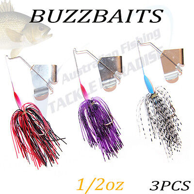 3x 1/2oz Buzzbait Buzz Baits Fishing Lure Spinnerbaits Spinner Spinners Bass 1