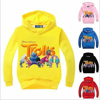 Boys Girls Trolls Hoodie Long Sleeve Hooded Kids Dreamworks Sweatshirt Jumper T
