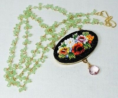 Micro Mosaic Necklace, Pink Topaz Drop, Green Peridot Cluster Chain, Italy