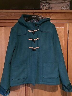 marks and spencer childrens girls age 13-14 turquoise duffle coat