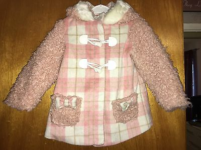 BNWT Girls Ladybird Pink & White Check Coat - Age 2-3