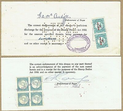 Tasmania Revenue 1955-66 cheque forms bearing Stamp Duty ½d on 1d pair etc