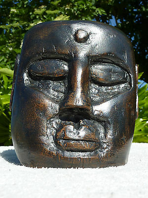 Solid Hand Carved Wooden Indian Head Ethnic Sculpture Large Wood Carving Ornate