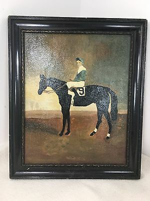 Old Vintage painting Jockey equestrian horse racing black horse no 9 Portrait